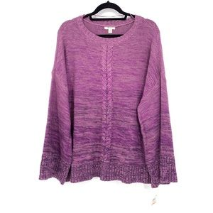 Style & Co Plus Size Sweater Marled Purple Knit